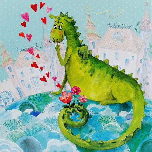 MILA MARQUIS*Postkarte*Glitzereffekt*Der Kleine Drache*14x14cm