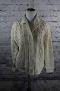 Paul-James-Womens-Wool-Cream-Fisherman-Cardigan-Sweater-S-England