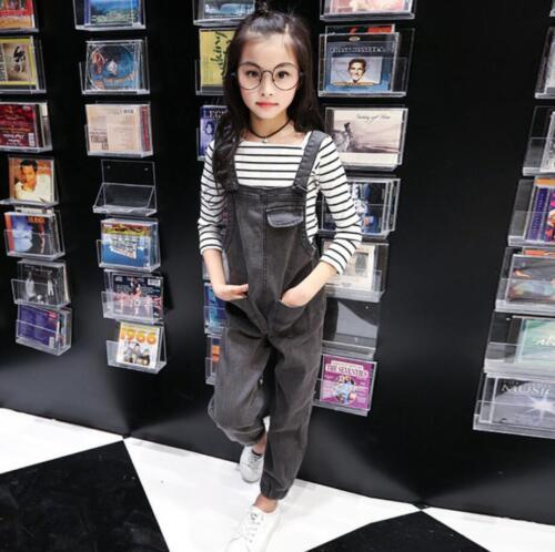 Kids Girls Dungarees Cotton Denim Jeans Pants Overalls Jumpsuit Trousers Fashion