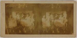 Theatre-Foto-Stereo-Amateur-Danneggiata-Th2n3-Vintage-Citrato-c1900