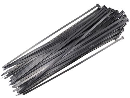 100 Nero in Plastica Nylon Fascette 450mm x 7.6mm