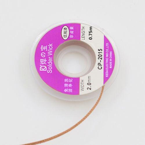 NEW 75cm Long 2 mm Desoldering Braid Solder Wick Copper Wire Spool BGA Remover