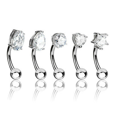 Micro Star Clear CZ Curved Bar Barbell Rook Daith Snug Eyebrow Mini Belly Button 16g 38 10mm Surgical Steel 316L Piercing Jewelry