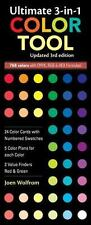 Ultimate 3-in-1 Color Tool : 24 Color Cards with Numbered Swatches -- 5 Color Plans for each Color -- 2 Value Finders Red and Green by Joen Wolfrom (2011, Print, Other)