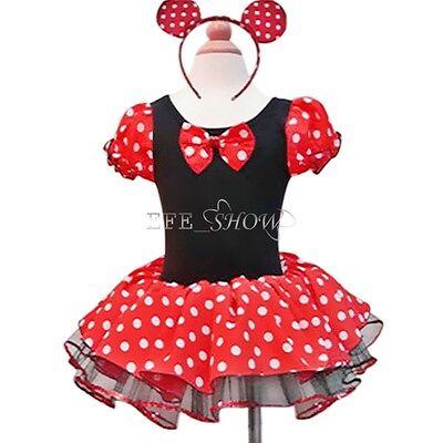 Kinder Mädchen Minnie Mouse Maus Kostüm Party Tütü Kleid Mit Ohren Gr. 92-140
