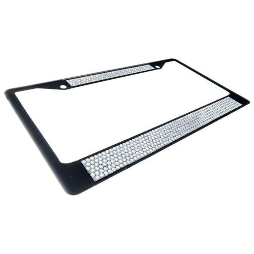 Premium Black Clear Bling Crystal Diamond License Plate Frame for Car-Truck