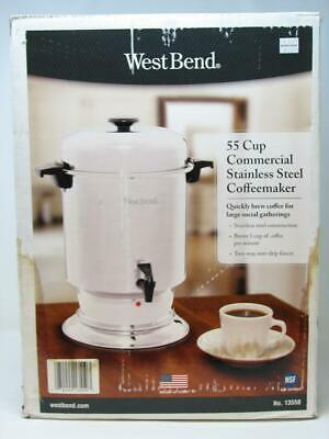 West Bend 13550 Polished Stainless Steel Commercial Coffeemaker Features Automatic Temperature Control Large Capacity with Quick Brewing Easy Clean Up 55-Cup Silver