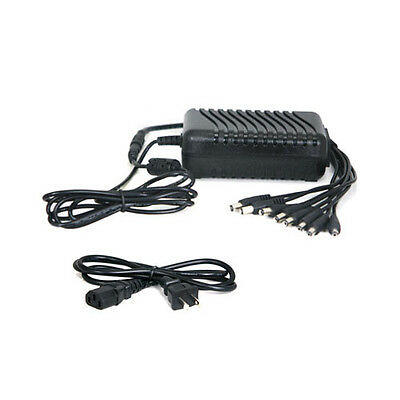 8CH AC 100-240V 2A Power Supply Adapter 8 Port DC 12V Pigtail for CCTV Camera