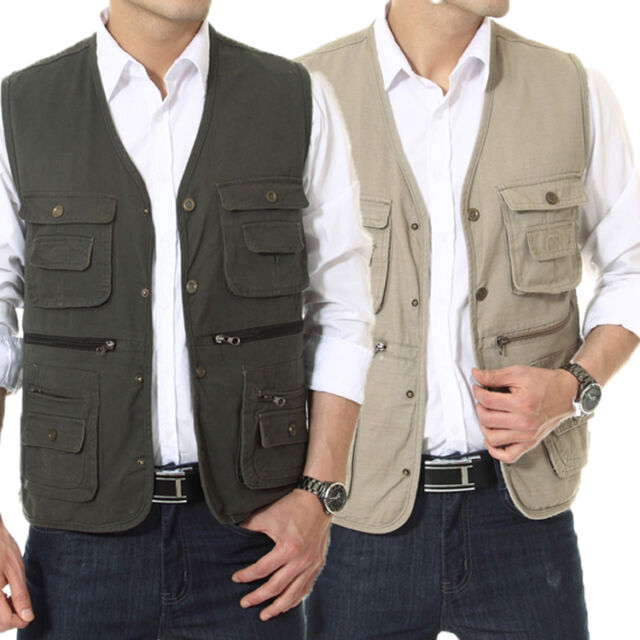 New Men's Casual Waistcoat Multi-pocket Vests Fishing/Photography/Director vests