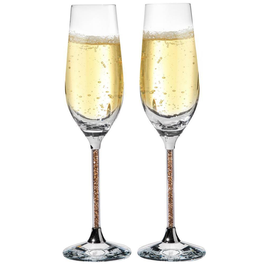 (2) 8 oz. Crystal Champagne Glasses Flutes w  Gold ColGoldt Crystals Filled Stems