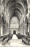 Exeter Cathedral. The Nave looking West # 9 by LL / Levy. Black & White.