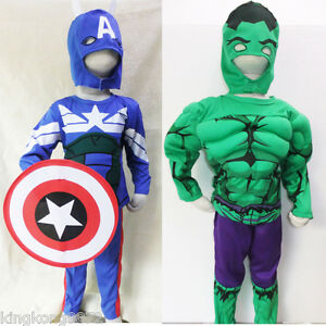 NEW Kids Boy Toddler Costume Muscle Chest Super Hero Captain Halloween 2-7Yrs