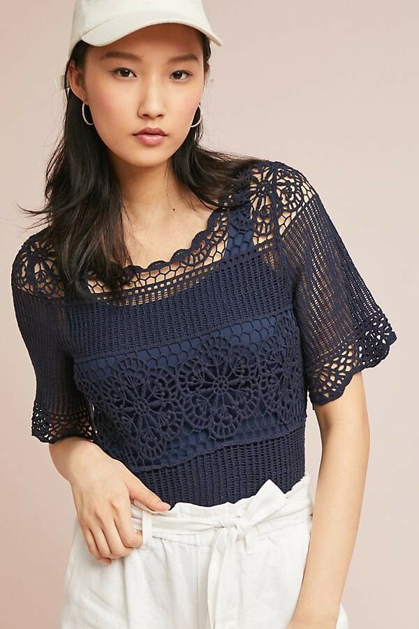 NWT James Coviello Anthropologie Navy Janice Lace Crochet Top Shirt Blouse XS