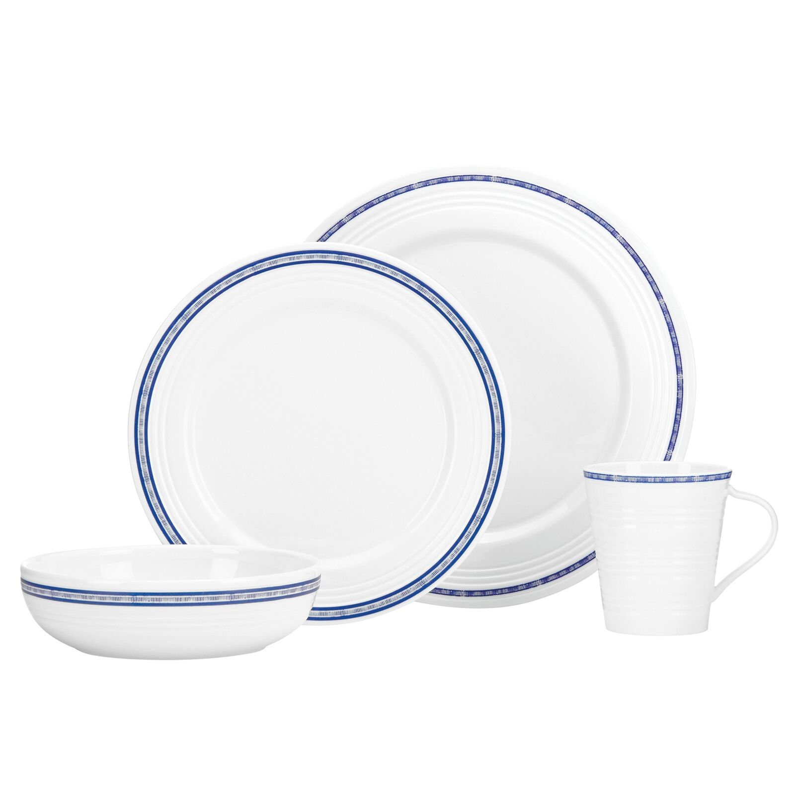 Lenox 4 Piece Tin Can Alley Navy Place Setting, blanc
