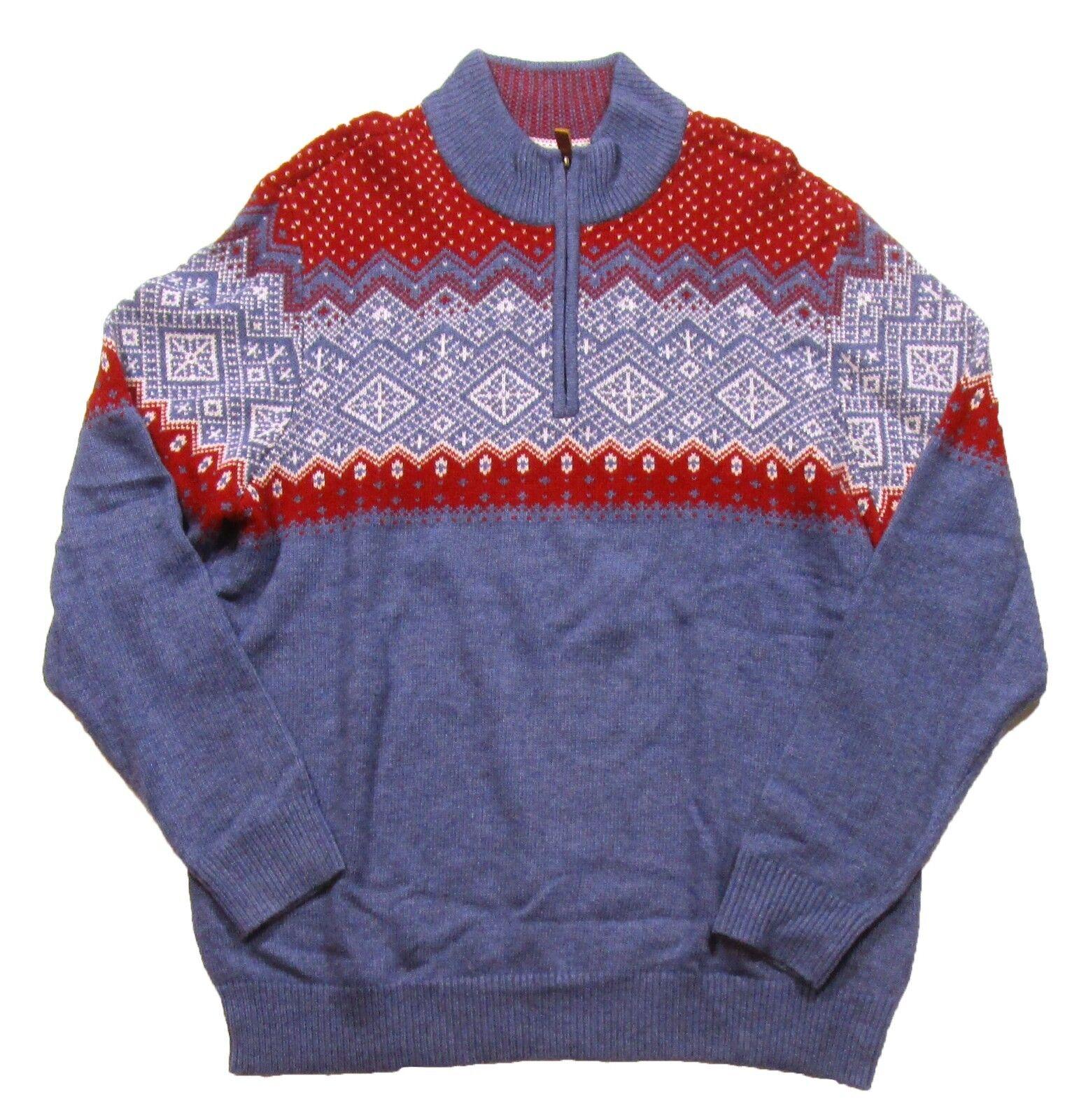 Vineyard Vines Men's Moonshine bluee Holiday Fairisle Wool Blend 1 4 Zip Sweater