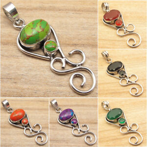 925-Silver-Plated-GEMSTONE-Choice-PENDANT-Highly-Polished-Jewelry