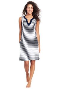 1f6b20baa5 Lands End Women  Cottom Jersey Tunic Dress Cover-up White Deep Sea ...