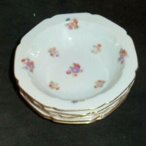 Vintage-4-Pieces-Of-Baronet-Bohemia-Floral-Bouquet-5-034-Diam-Berry-Bowls-BAR28