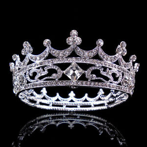 4-5cm-High-Full-Crystal-King-Wedding-Bridal-Party-Pageant-Prom-Tiara-Round-Crown