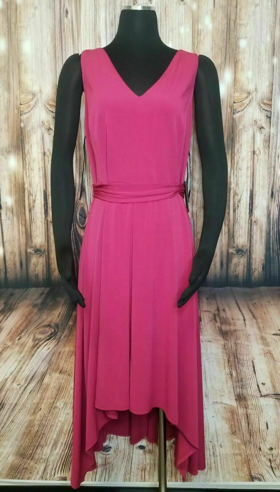 NWT Vince Camuto Asymmetrical Belted A-line Dress Berry red Women's 8  138