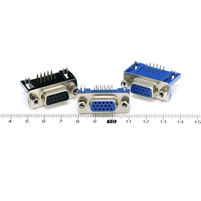 2Pcs Vga Db15 15Pin D-Sub 3 Row Female Right Angle Pcb Solder Cable Connector RS