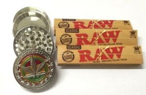 4-PART-SILVER-METAL-MAGNETIC-GRINDER-LEAF-WEEDS-with-3-x-KING-SIZE-RAW-PAPERS