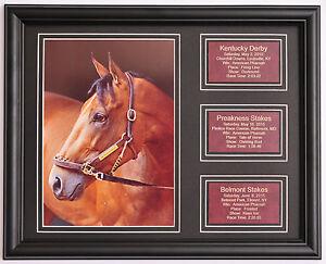 American-Pharoah-Pharaoh-Triple-Crown-photo-w-saddle-leather-statistic-plaques