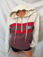 Victoria's Secret Pink Perfect 1/4 Zip Hoodie Sweatshirt L Begonia Red Ivory New