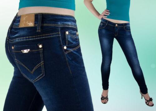 Damen Jeans  Hose Jeanshose  Röhre Röhrenjeans Hüftig Blau 36 *