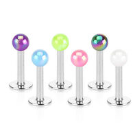 New Surgical Steel Tragus Labret Bar With Metalic 3mm Ball Choice of Colour