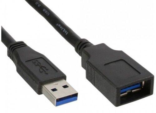 0,5m inline usb 3.0 superspeed verlängerung rund kabel schwarz voll-geschirmt