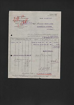 Lille, Rechnung 1927, Textiles Bruts, Filés, Manufacturés Victor Wiart & Cie. äSthetisches Aussehen