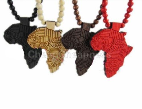 Neuf bonne qualité Hip-Hop Africain Carte Pendentif Bois Chapelet Rosaire colliers chaîne FP