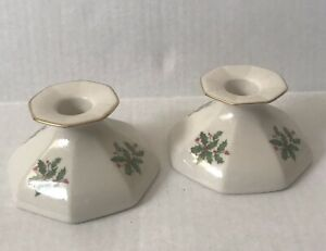 Lenox Candlesticks Holders Pattern  Holly Berry Gold Trim Pair Vintage