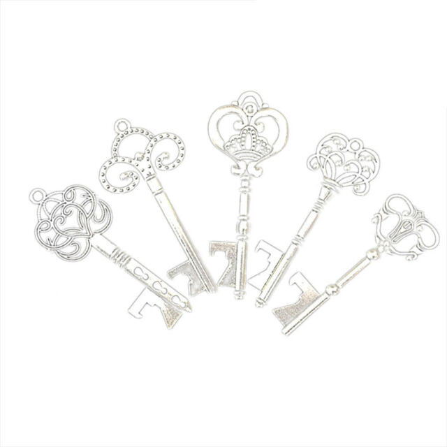 20X Alloy Antique Skeleton Key Bottle Opener with Tag Card Wedding Party Favors