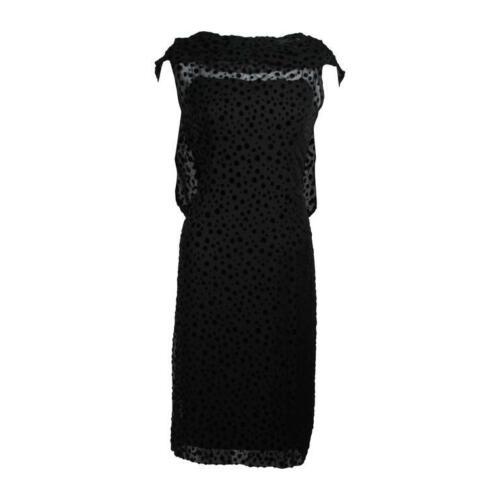 JEAN DESSES Black Chiffon & Velvet Cocktail Dress
