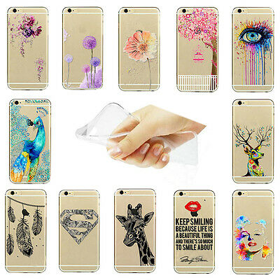 Hot Fashion Patterns Ultra Slim Clear Soft TPU Cover For iPhone 5S 5C 6 6S PLUS