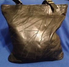 """Beautiful Black 12"""" Purse Tote Bag, Patch Work, Genuine Leather, NWOT"""