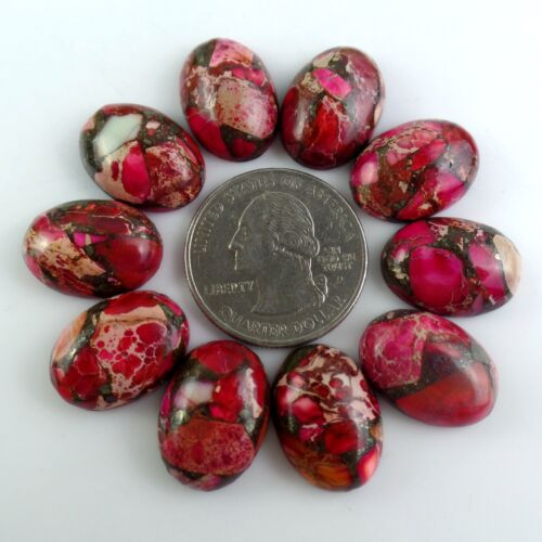 10Pcs 18*13*7mm Rose red Sea Sediment Jasper /&Pyrite Oval Cab cabochon  F-dhs14