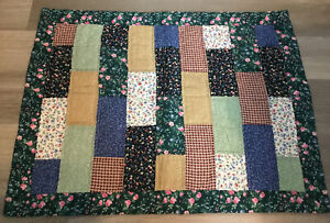 Patchwork Quilt Wall Hanging, Rectangle Logs, Floral Calico Prints, Green, Blue