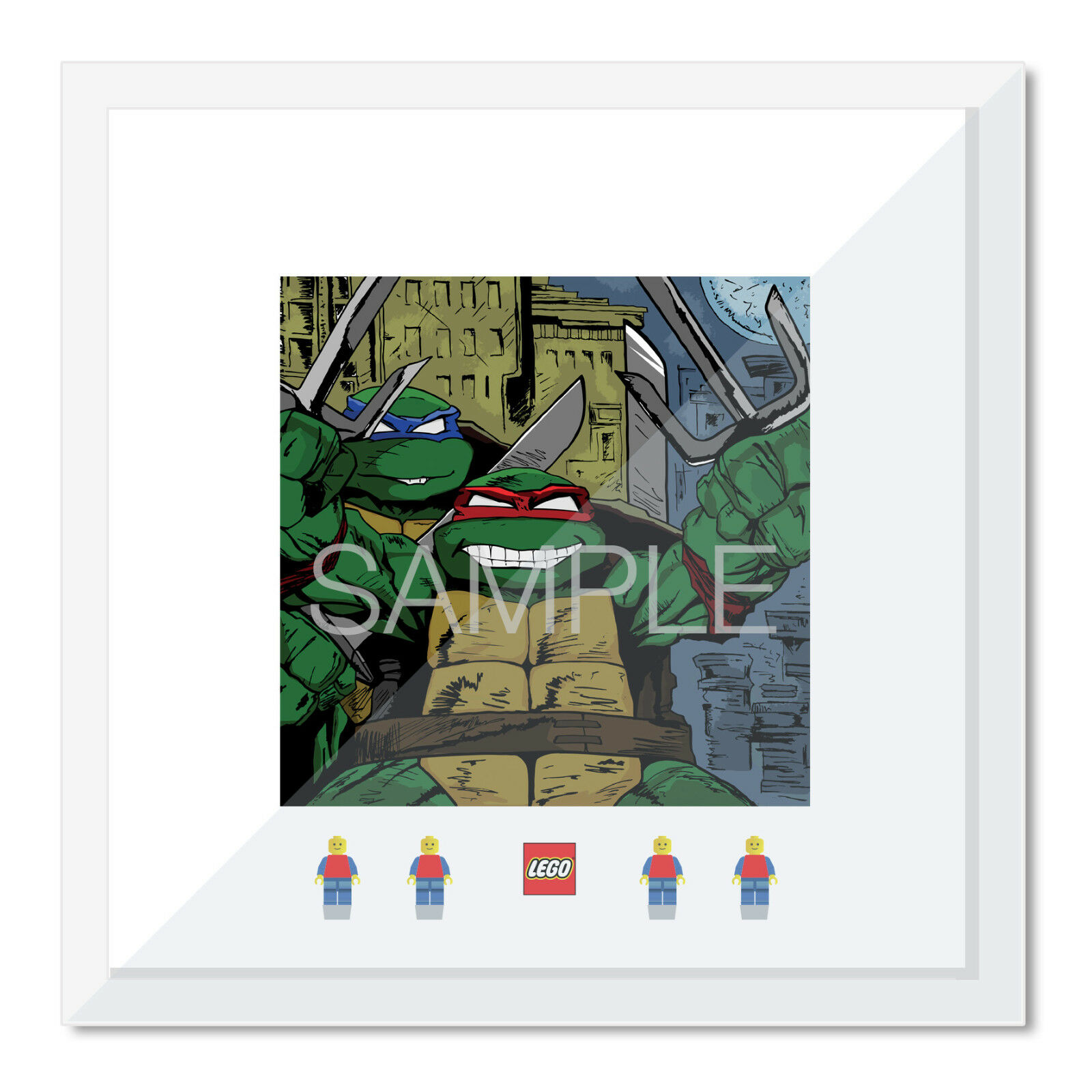 Large 50cm Lego Frame Display Case and Print - Teenage Mutant Ninja Turtles