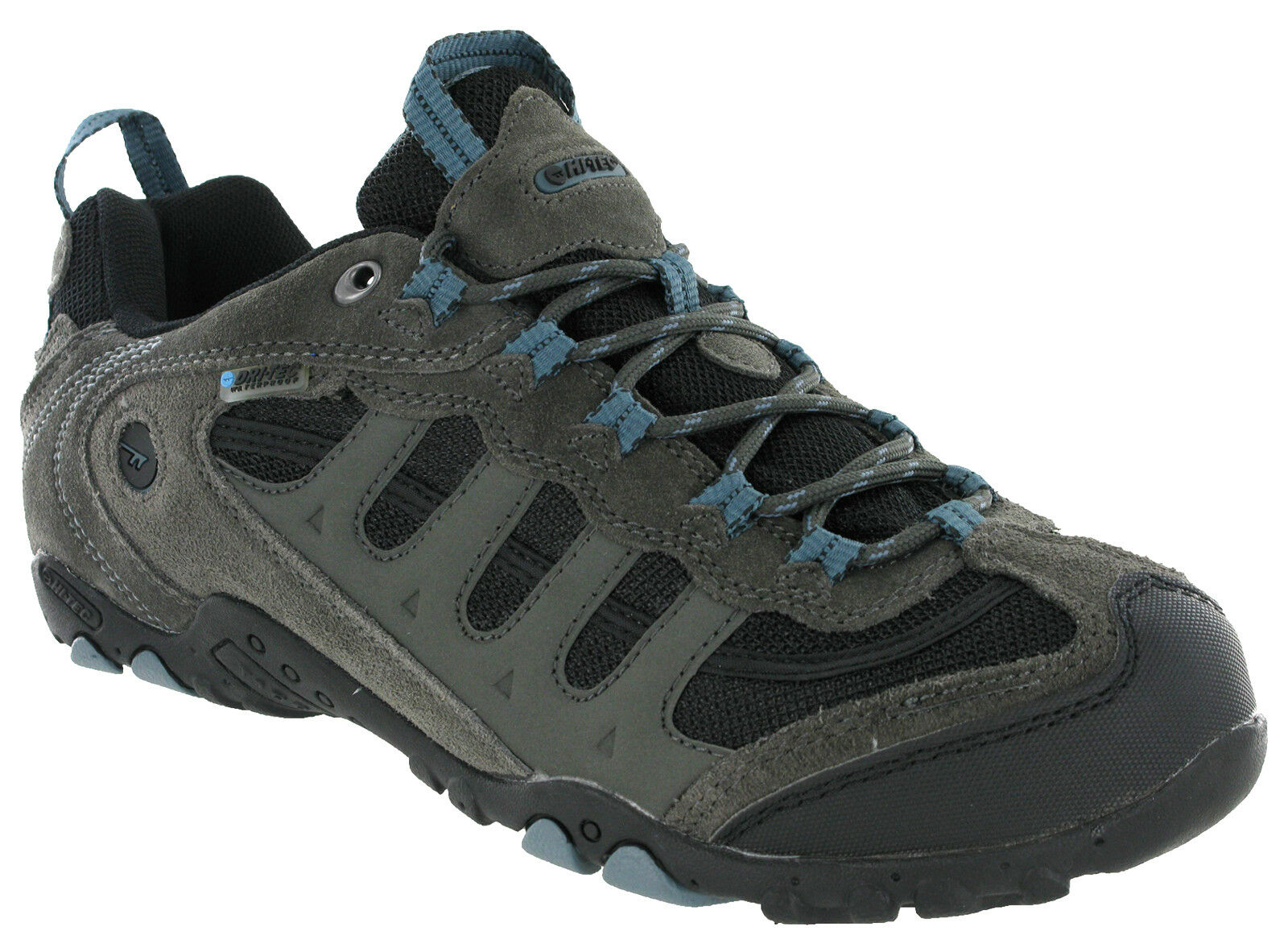 Hi-tec Penrith Low Waterproof Walking Hiking Trainers Grey   Goblin bluee Mens