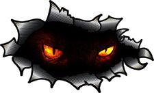 Carbon Fibre Fiber Ripped Open Torn Metal Evil Demon Demonic Eyes car sticker