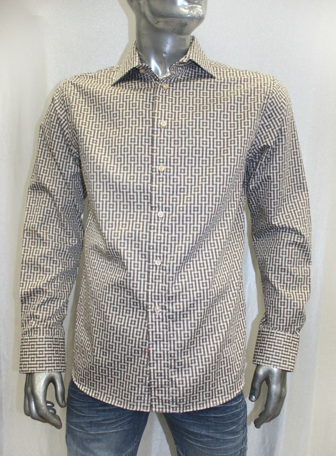 Men's Rufus Brown   White Long Sleeve Button Down Shirt