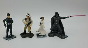 "LOT OF 4 Star Wars LFL Hasbro 2006 Mini Action Figures 3"" VADER LEIA REBEL IMPER"