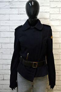 REPLAY-Donna-Giacca-Taglia-L-Slim-Jacket-Giubbotto-Cappotto-Giubbino-Lana-Blu
