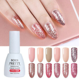 10ml-Rosegold-Soak-Off-Nail-Art-UV-Gellack-Glitzer-Dekor-Manikuere-Born-Pretty