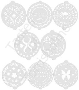 Kitchen-Craft-Set-of-8-Cake-Decorating-Stencils-Birthday-Patterned-Christmas