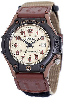 Casio Analog Brown FORESTER Watch with Backlight FT-500WVB-5BV Cloth Band NEW