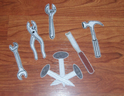 HAMMER WRENCH PATCH NAILS PLIERS APPLIQUE CHISEL
